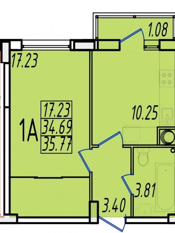 Планировки однокомнатных квартир 34.91 м^2